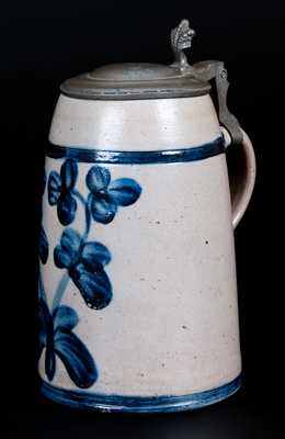Exceptional Large-Sized Stoneware Mug with Profuse Cobalt Clover Decoration, Baltimore, MD origin, circa 1875. Few clover-decorated Baltimore mugs are known, and this is the best of its type we have seen.