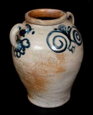 Exceptional Vertical-Handled Stoneware Jar w/ Watchspring Design, Manhattan or Cheesequake, NJ, c1775