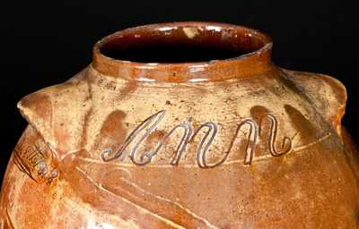Exceptional Thomas Vickers, Chester County, PA, Redware Jar Inscribed