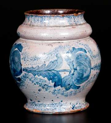 Extremely Rare I. BELL (John Bell) Tin-Glazed Redware Jar with Profuse Brushed Cobalt Decoration, Winchester, VA, circa 1825