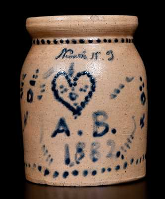 Fine Small-Sized Stoneware Jar Inscribed