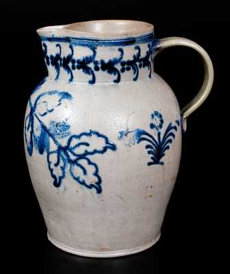 1 1/2 Gal. Stoneware Pitcher with Exceptional Slip-Trailed Foliate Decoration, Baltimore, circa 1820