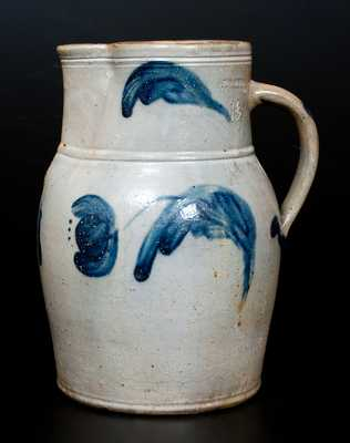 Scarce 1 1/2 Gal. JOHN BELL / WAYNESBORO Stoneware Pitcher with Tulip Decoration