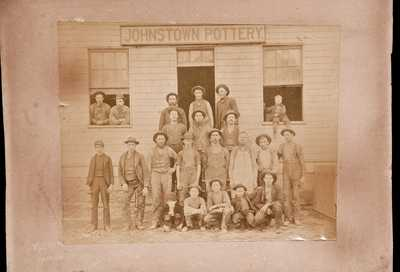 Extremely Rare Photograph Depicting Swank s Johnstown Pottery, circa 1885.