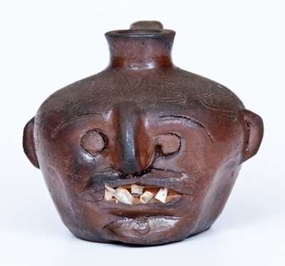 Very Rare Albany-Slip-Glazed Stoneware Face Jug with China Teeth, Incised in Script