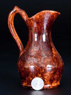 Rare and Fine Lead-and-Manganese-Glazed Redware Pitcher, Stamped