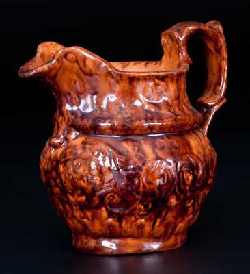 Very Rare Diminutive Molded Redware Pitcher with Lead-and-Manganese Glaze, Stamped