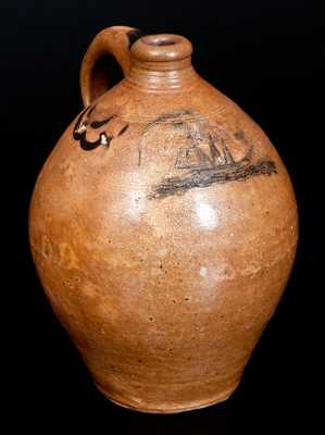 Exceedingly Rare and Important One-Gallon Stoneware Jug with Incised Ship Decoration, attributed to Clarkson Crolius Sr. or Jr., Manhattan, NY, circa 1810-1820. The swag decoration, form, and color, are consistent with pieces produced by Clarkson Crolius, Sr. and his son during the early 19th century. More specifically, this jug is closely-related to a small drape-decorated jug sold as lot #32 in our November 6, 2010 auction. That jug, which bore the mark