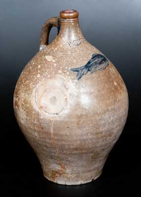 Two-Gallon Stoneware Jug with Impressed Fish Decoration, Stamped