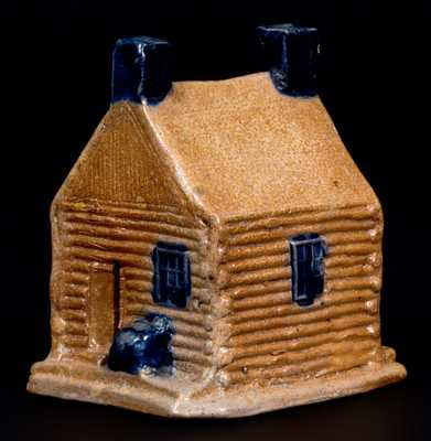 Rare Cobalt-Decorated Stoneware Log Cabin Bank, attrib. Thomas Haig, Jr., Philadelphia, PA, c1845-55