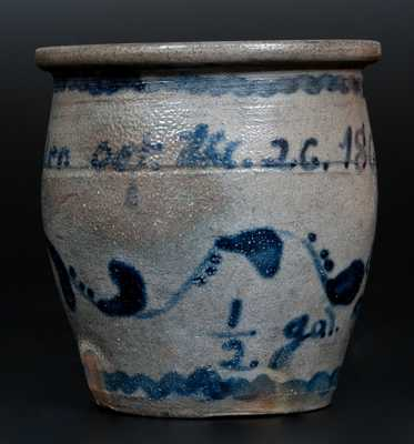 Jos. Shibler / Oct. the 26, 1869 Stoneware Jar,