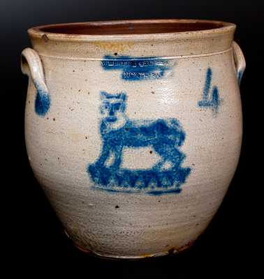 Extremely Rare Four-Gallon Stoneware Jar with Stenciled Cobalt Cat Decoration, Stamped