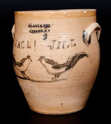 Possibly Unique Three-Gallon Stoneware Jar with Cobalt Decoration of Facing Chickens, Inscribed