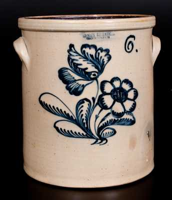 Fine Six-Gallon Stoneware Crock with Cobalt Floral Decoration, Stamped