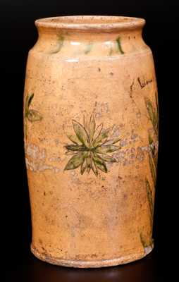 Extremly Rare Redware LIBERTY Jar with Incised Decoration, Dated 1826.