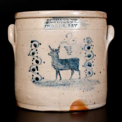 Rare Two-Gallon Stoneware Crock with Stenciled Cobalt Deer Decoration, Stamped