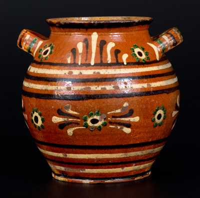 Jacob Albright, Jr. and Henry Loy, Alamance County, NC, circa 1790-1810 Redware Sugar Jar