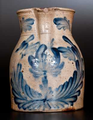 Extremely Rare M. & T. MILLER / NEWPORT, PA 2 Gal. Stoneware Pitcher with Profuse Cobalt Floral Decoration