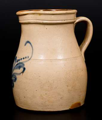 One-Gallon Stoneware Pitcher w/ Cobalt Foliate Decoration, Fort Edward, N.Y. origin