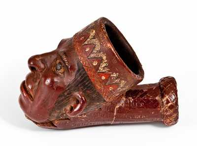 Exceptional Anna Pottery Hand-Modelled Indian Head Stoneware Peace Pipe with 1873 Presentation Inscription