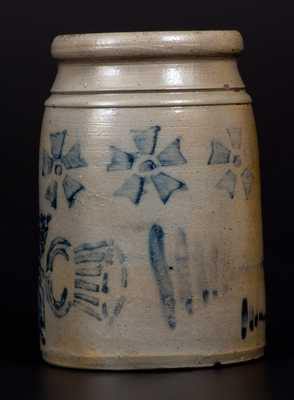 Very Unusual One-Quart Stoneware Wax Sealer with Thistle and Pinwheel Decoration and Vertical Striped Decoration on Reverse