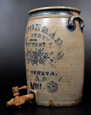 Outstanding A. CONRAD / NEW GENEVA, PA Stoneware Water Cooler with Elaborate Stencilled Floral Decoration