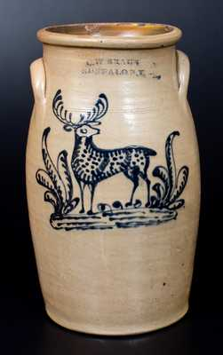 Rare C. W. BRAUN / BUFFALO, N.Y. Stoneware Churn with Fine Slip-Trailed Deer Decoration