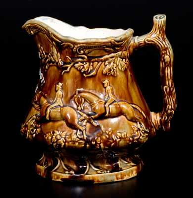 Rare Rockingham Hunt Scene Frog Pitcher attrib. John L. Rue, South Amboy, NJ