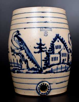 J. & E. NORTON / BENNINGTON, VT Six-Gallon Stoneware Water Cooler w/ Panoramic Cobalt Pastoral Scene