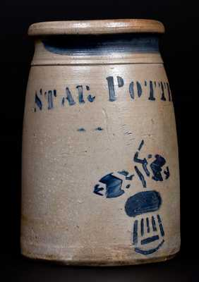 Exceptional One-Quart STAR POTTERY (Greensboro, PA) Stoneware Wax Sealer with Thistle Decoration