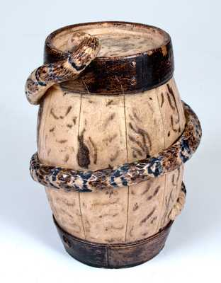Extremely Rare and Important Stoneware Snake Temperance Keg
