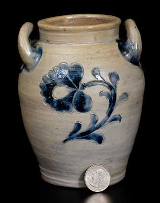 Very Rare Miniature New York City Stoneware Jar w/ Fine Incised Floral Decoration, c1800