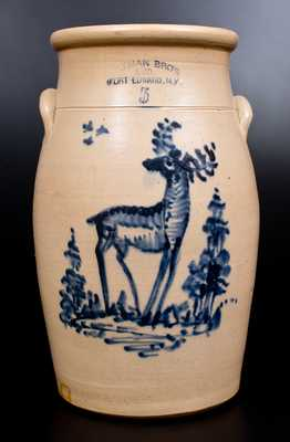 Very Rare OTTMAN BROS & CO / FORT EDWARD, NY Stoneware Deer Churn
