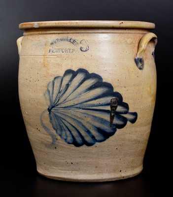 Scarce M. & T. MILLER / NEWPORT, PA Stoneware Jar w/ Large Cobalt Leaf