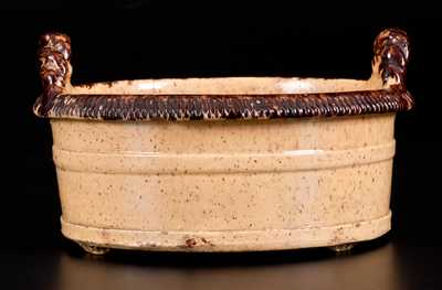 Outstanding Glazed JOHN BELL (Waynesboro, PA) Redware Butter Tub