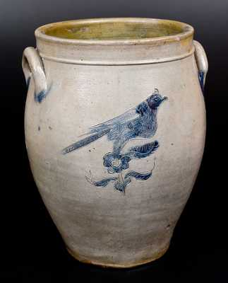 3 Gal. Stoneware Jar with Elaborate Incised Bird Decorations, New York State, circa 1825