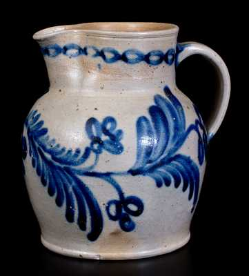 Fine Half-Gallon Baltimore Stoneware Pitcher w/ Elaborate Floral Decoration, c1840