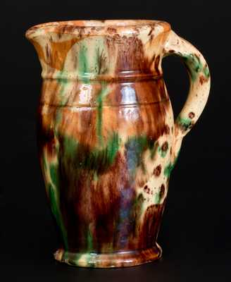 Shenandoah Valley Multi-Glazed Redware Pitcher, att. S. Bell & Son or J. Eberly., Strasburg, VA