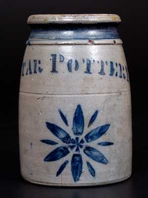Rare Small-Sized STAR POTTERY (Greensboro, PA) Stoneware Canning Jar w/ Star Motif