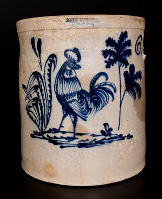Extremely Rare JOHN BURGER / ROCHESTER Stoneware Rooster Crock