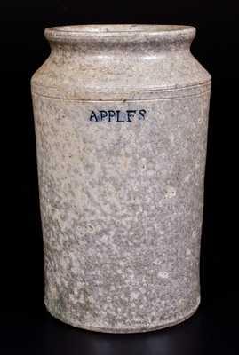 Exceedingly Rare Stoneware APPLES Fruit Jar, probably John Morgan, Rockbridge County, VA