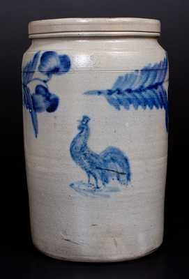 Very Rare Stoneware Jar w/ Rooster Decoration attrib. R. J. Grier, Chester County, PA