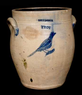 I. Seymour / Troy, New York, Stoneware Crock w/ Incised Bird