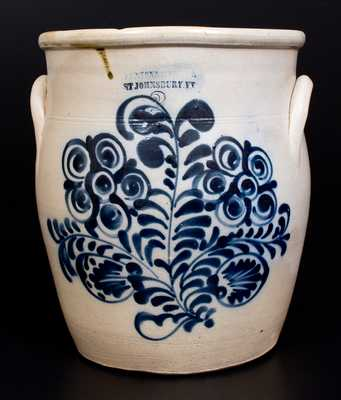 Unusual FENTON & HANCOCK / ST. JOHNSBURY, VT Stoneware Jar w/ Elaborate Decoration