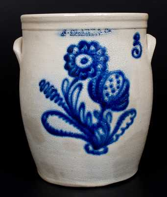 Fine N. CLARK & CO. / ROCHESTER, NY Stoneware Jar w/ Bold Floral Decoration