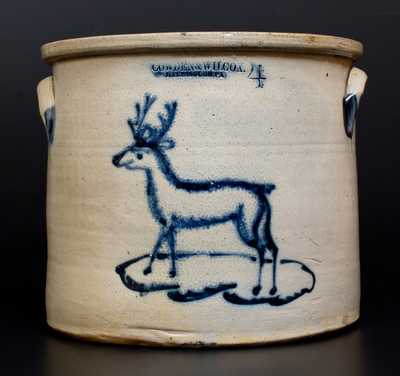 Extremely Rare COWDEN & WILCOX / HARRISBURG, PA Stoneware Deer Crock