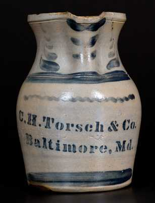 Rare C. H. TORSCH & CO / BALTIMORE Stoneware Advertising Pitcher by A. P. Donaghho