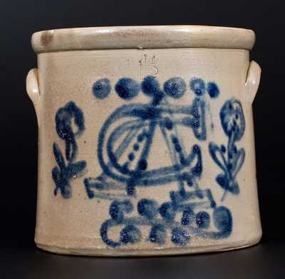 Very Unusual Stoneware Crock w/ Cobalt Bent-Nails Insignia