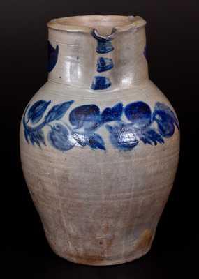 Rare John P. Schermerhorn 3 Gal. Stoneware Pitcher w/ Profuse Cobalt Decoration