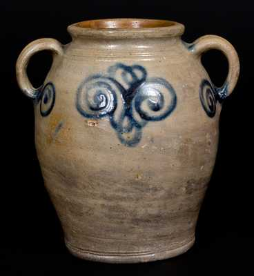 Scarce 18th Century Stoneware Jar w/ Watch Spring Decoration, Manhattan, NY or Cheesequake, NJ
